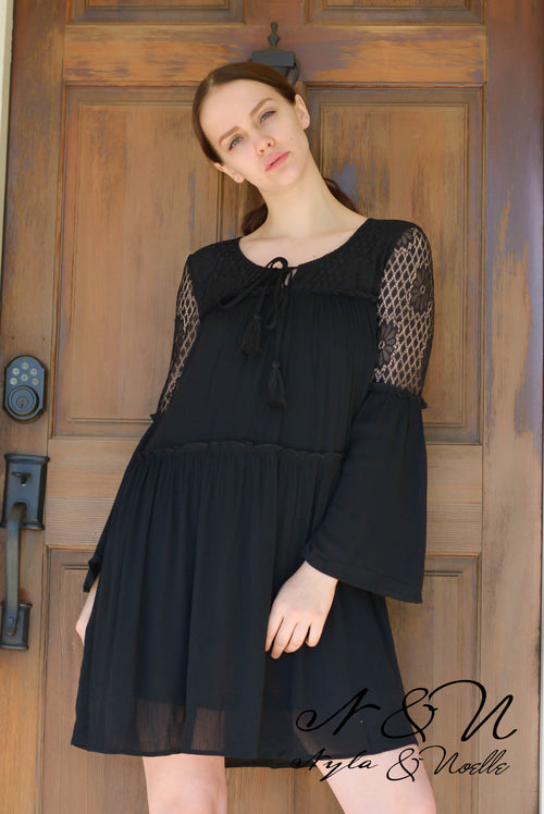 OAKLEY - Boho Black Tiered Dress with Lace Panels