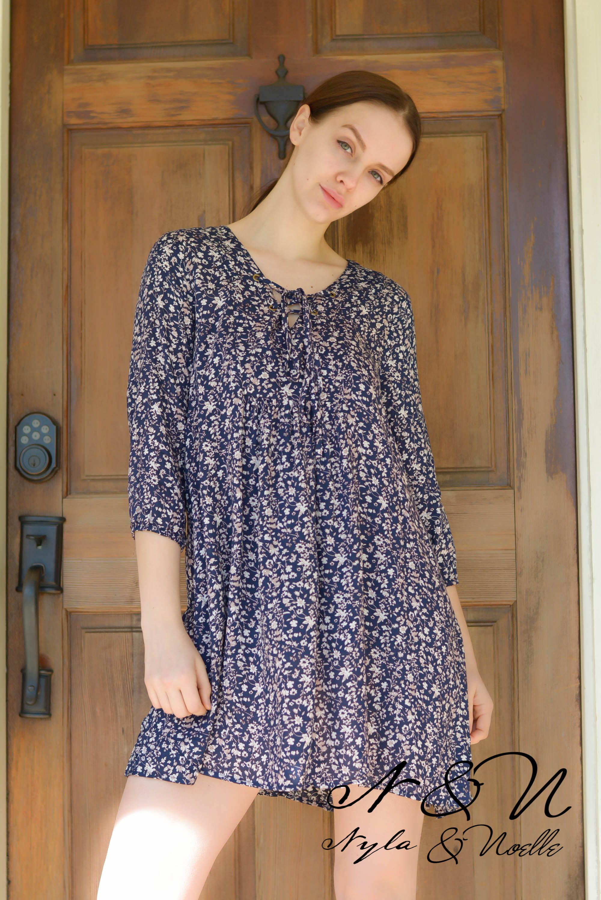 PIPER - Navy Floral Boho Dress with 3/4 Push Sleeves