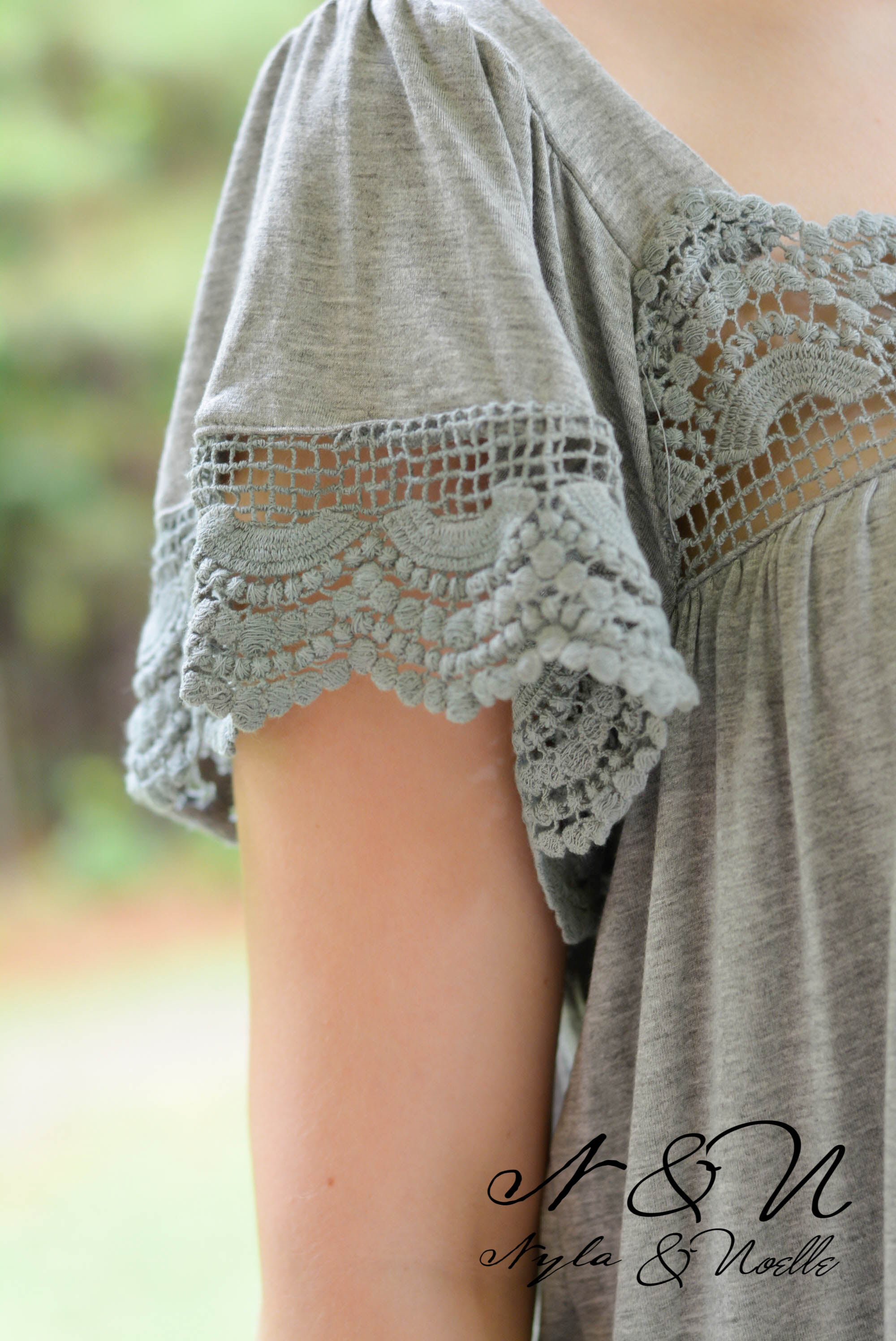 LARIMAR - Crochet Lace Accented Boho Swing Top