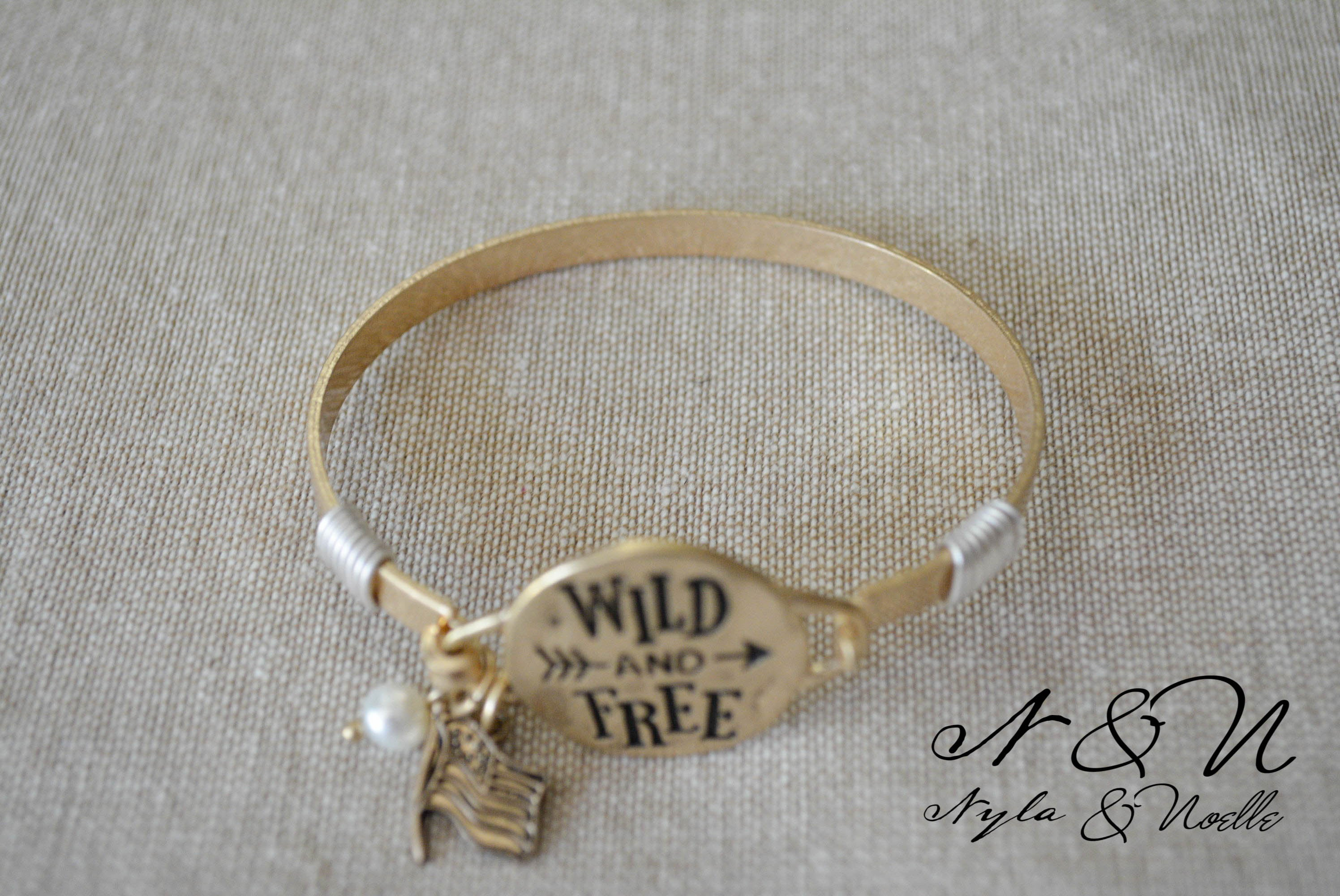 Wild and Free - Antique Gold Tone Bangle