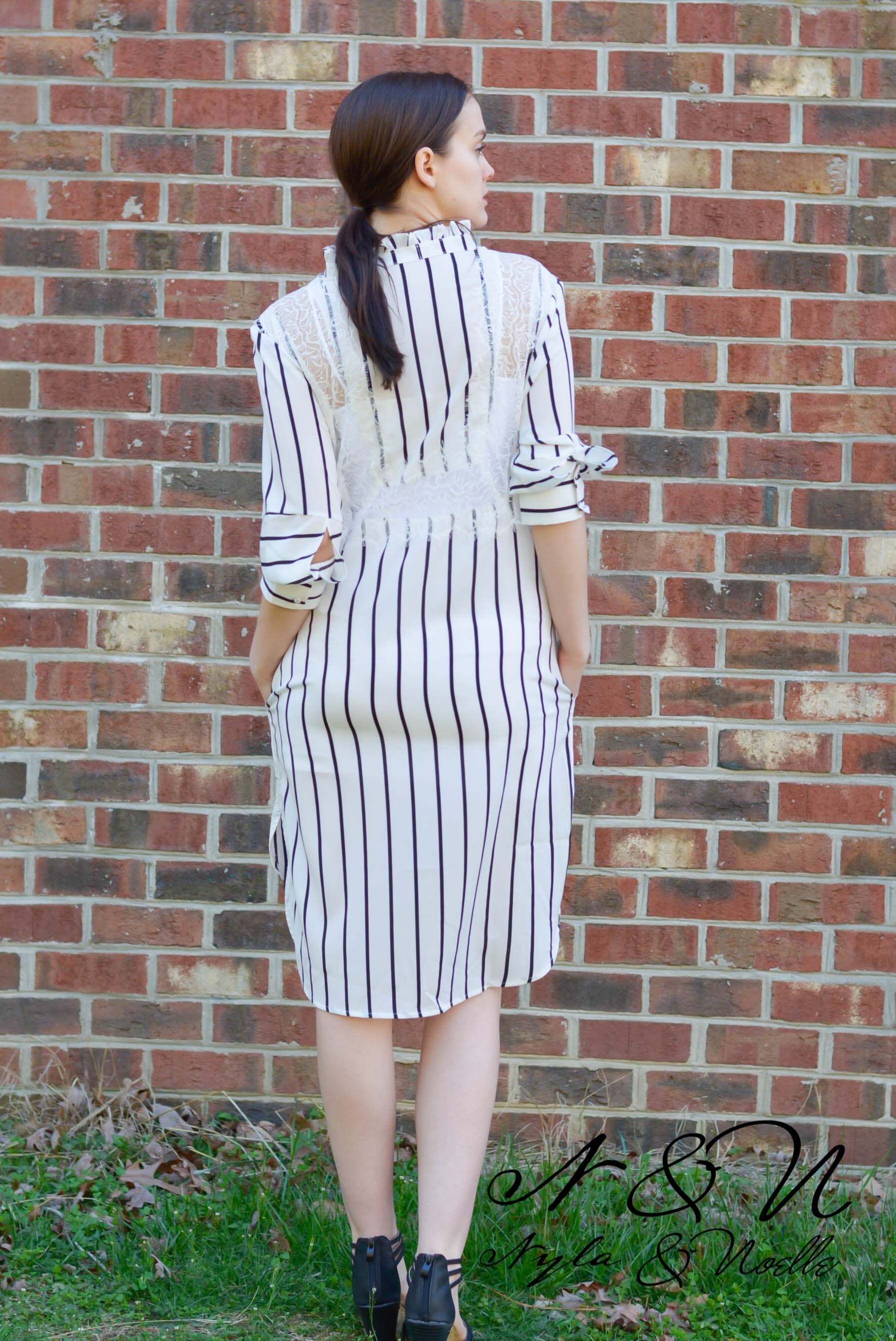 NASHVILLE - Striped Shirt Dress with Lace Panels