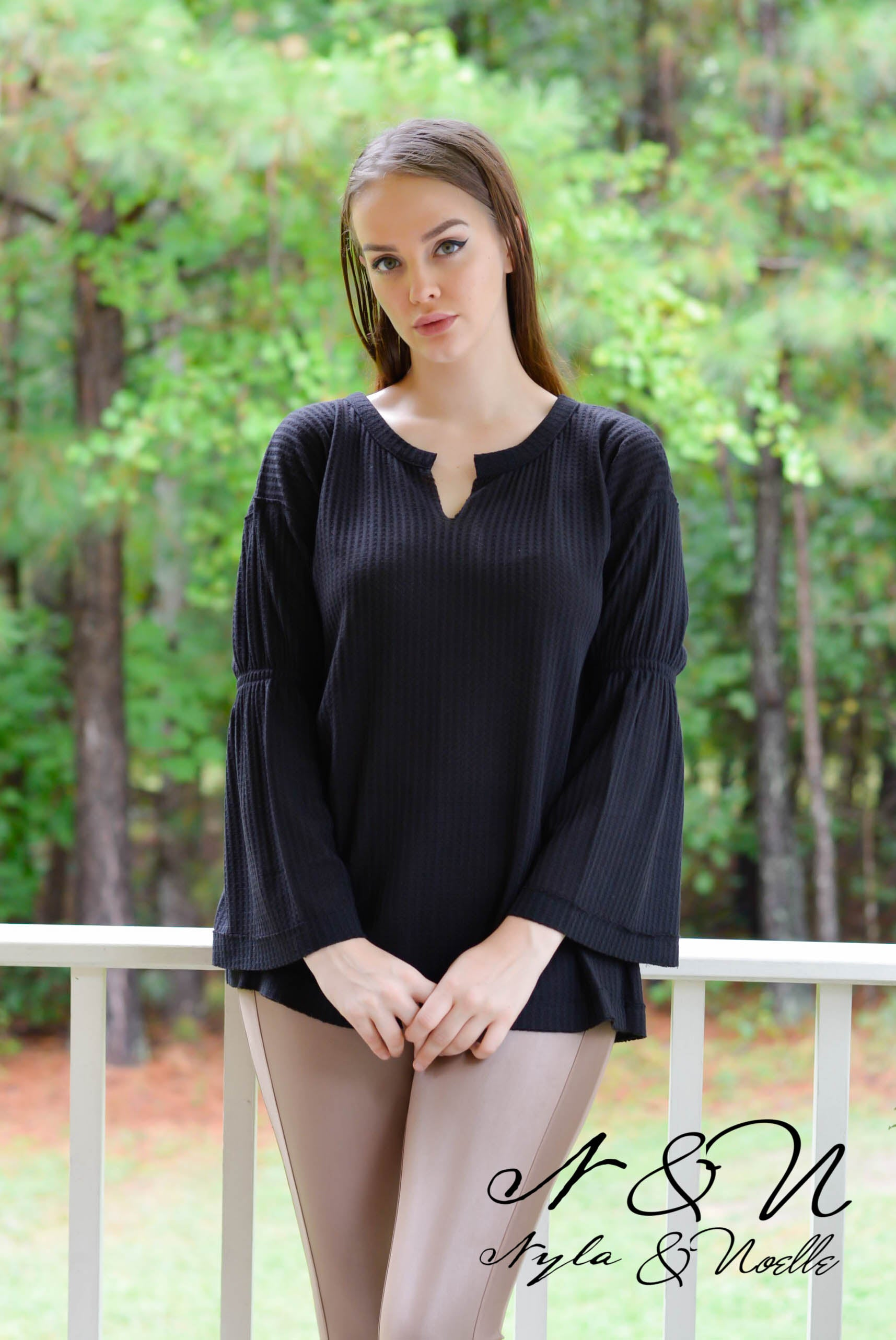 LOCKLYN - Waffle Knit Bell Sleeve Top