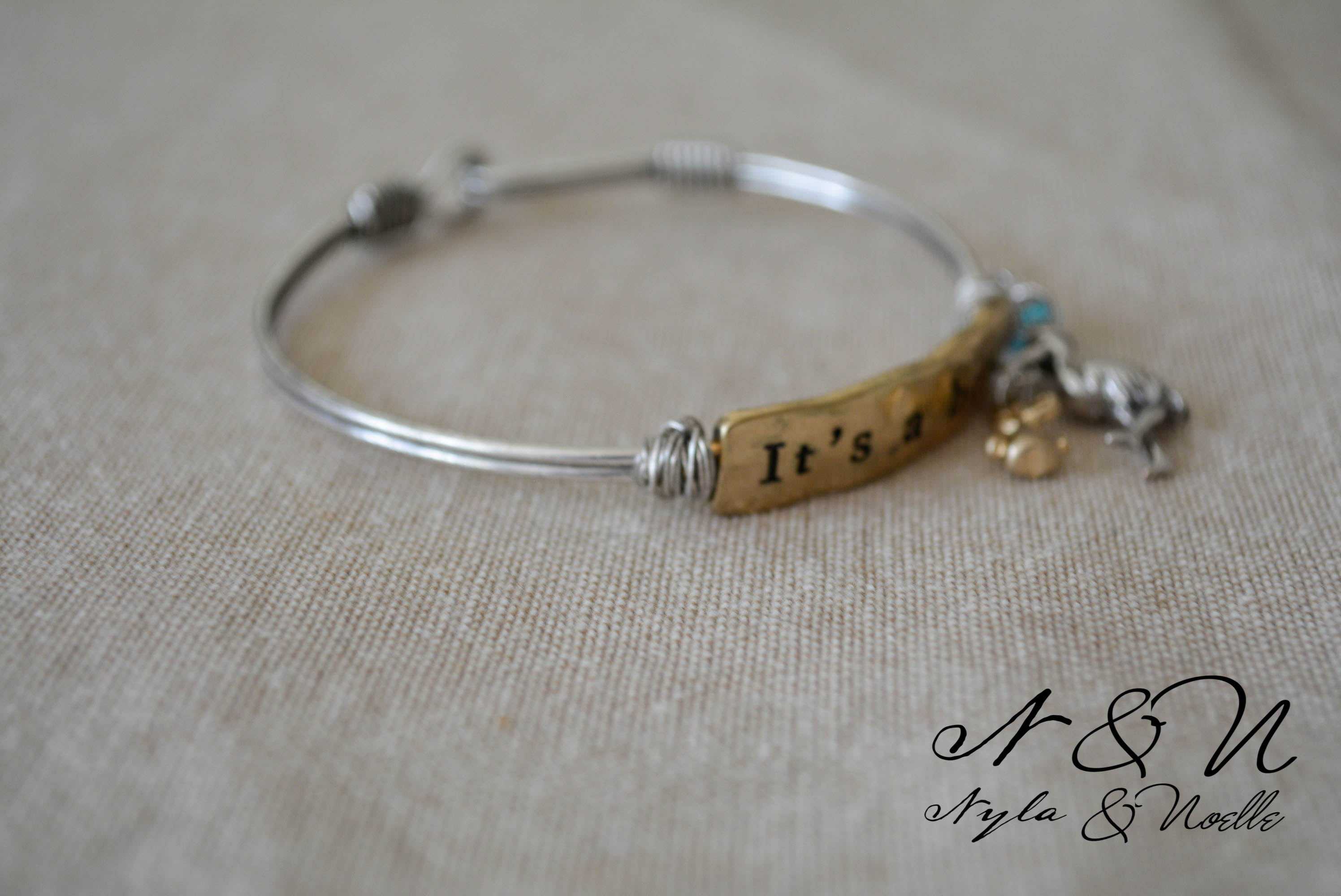 It's A Boy / Girl Stork Vintage Wire Bracelet