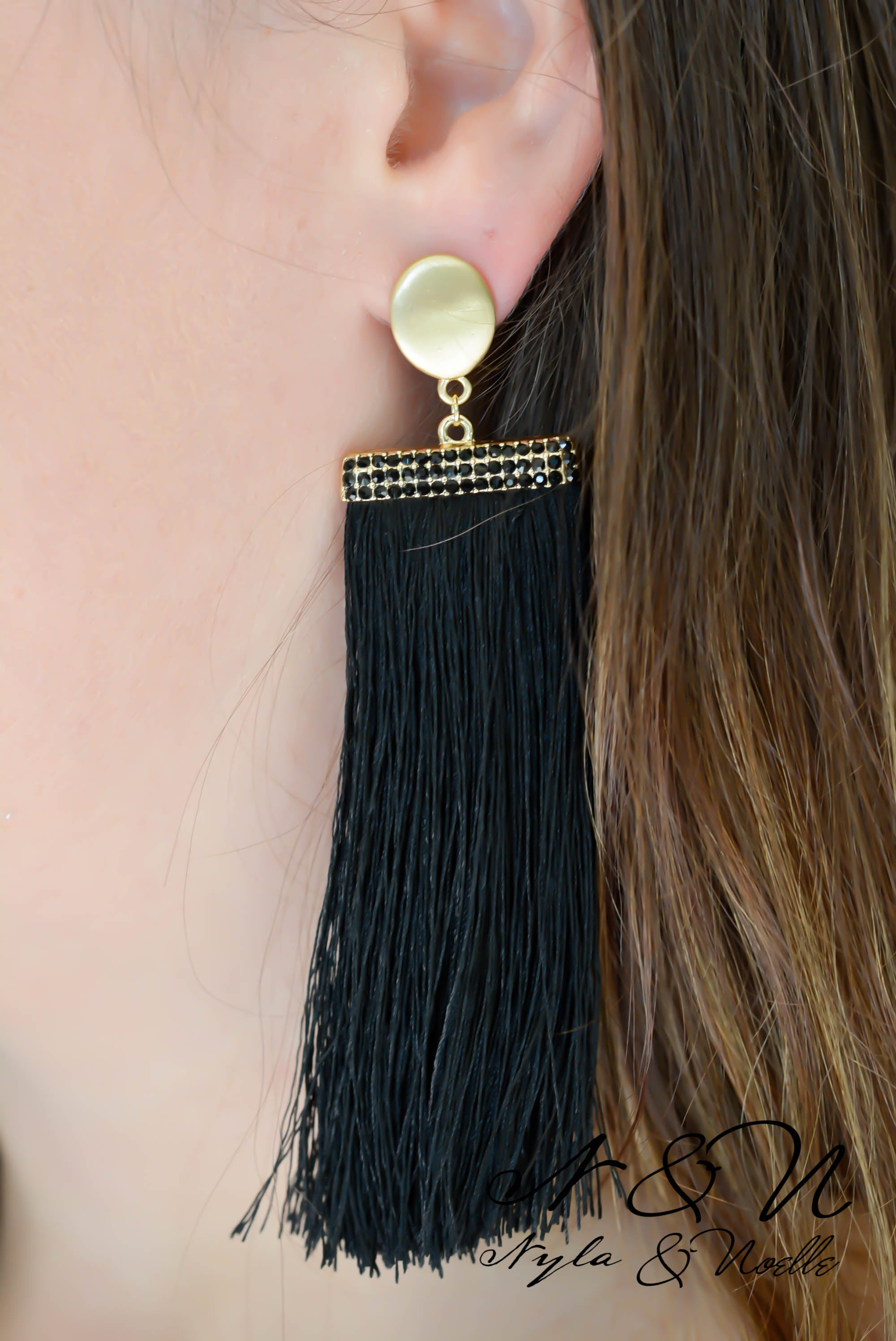 PALOMINO - Black Tassel Earrings with Crystal Accents
