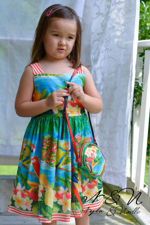 TEA TIME IN PARADISE - Girls Tropical Print Dress with Matching Purse