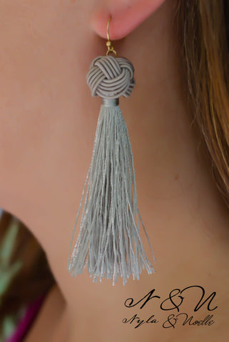 ALLURA -  Gray Tassel Earrings