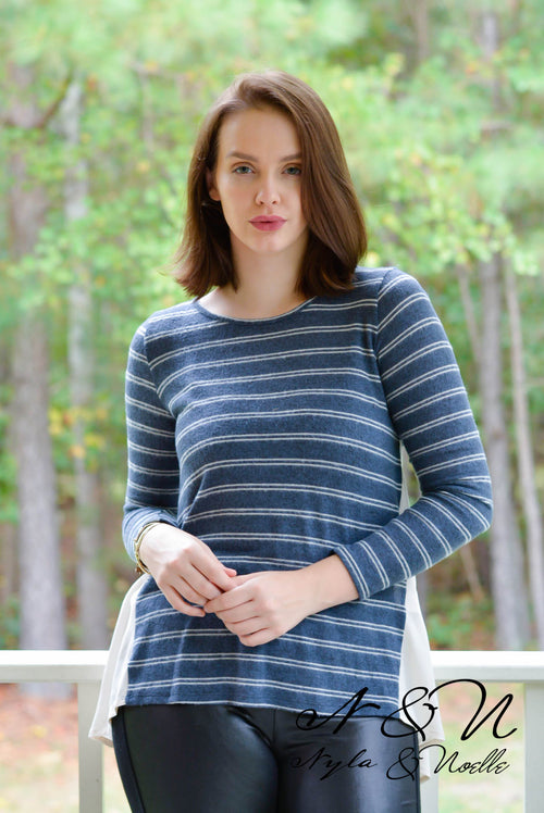 FOSTER - Striped Button Back Top