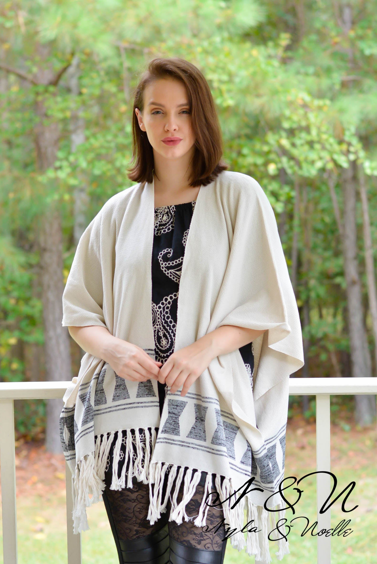 BRYNN - Gauzy Half Sleeve Tunic with Pockets and Tan Accent Stitching