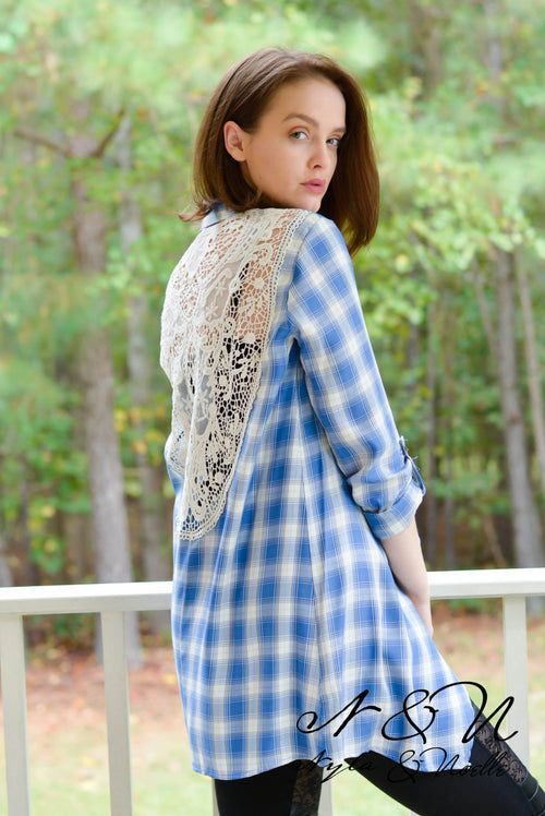 ASHLEEN - Blue Plaid Lace Panel Back Wrap