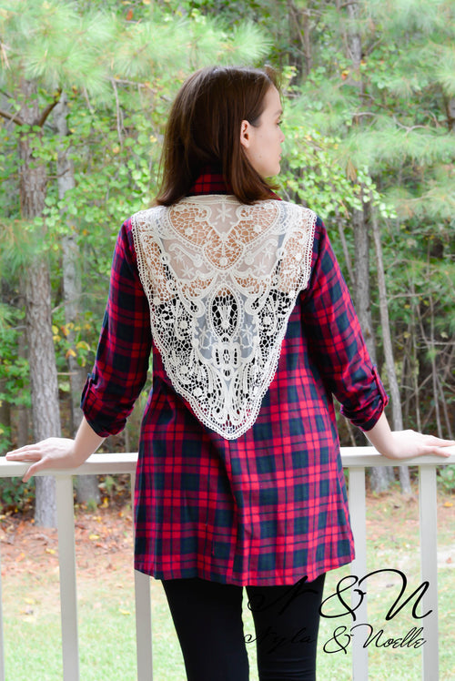 ASHLYN - Red Plaid Flannel Lace Panel Back Wrap