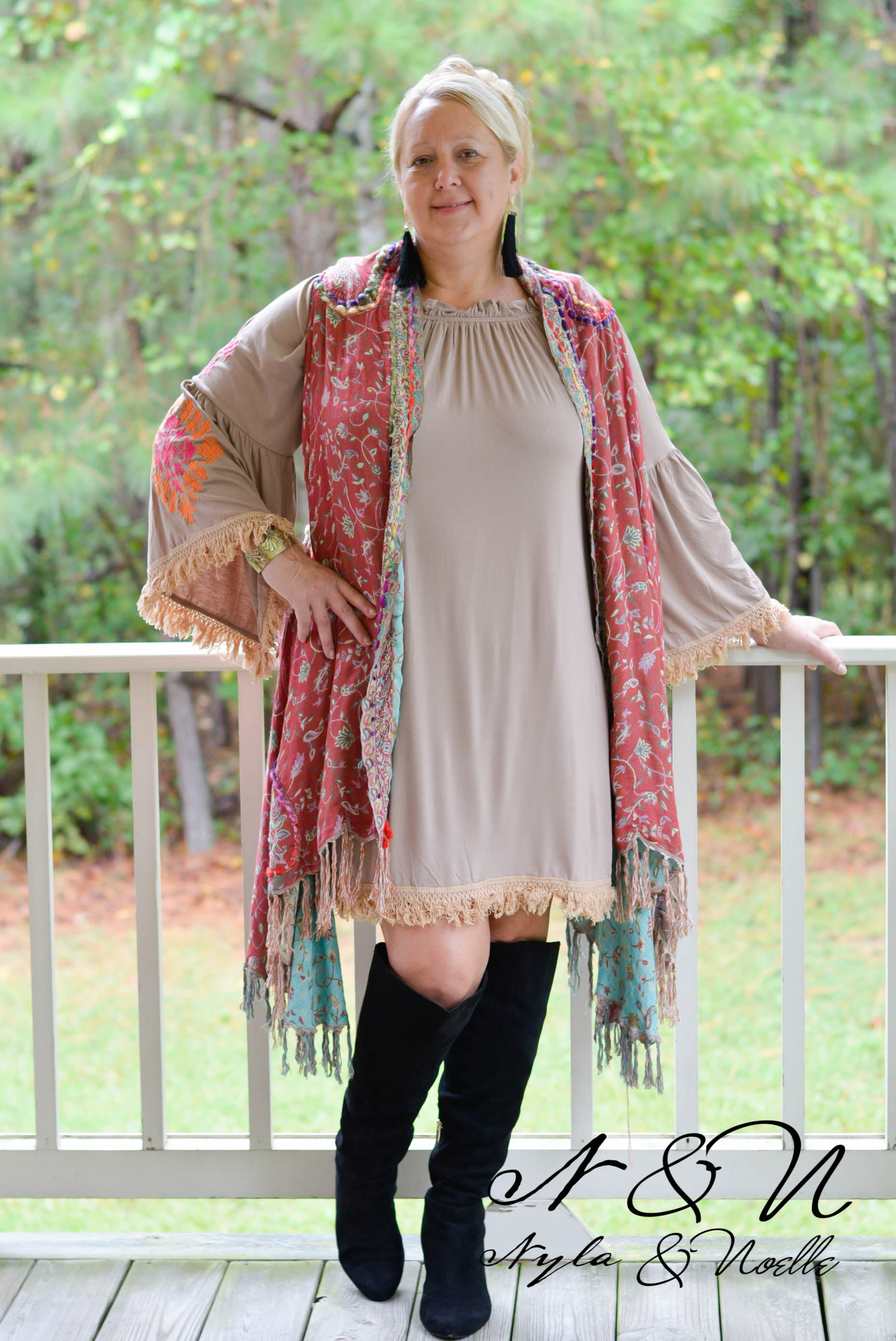 ARIELLA - Plus Size Boho Chic Fringe Dress