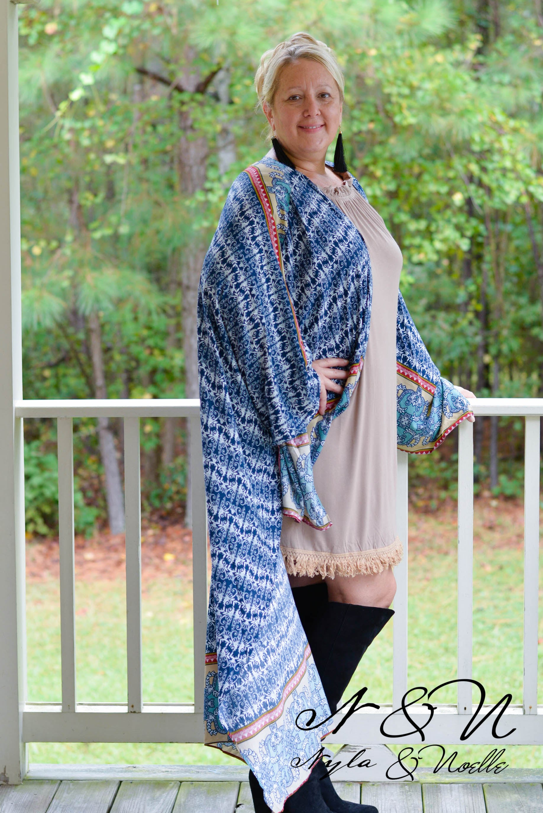 CHARDONNAY - Oversize Full Length Boho Scroll Print Floating Wrap
