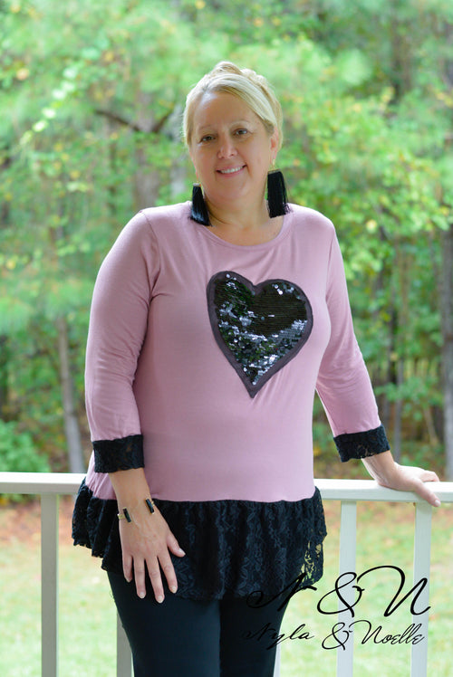 BLACK VALENTINE - Plus Size Sequin Heart and Lace Tunic