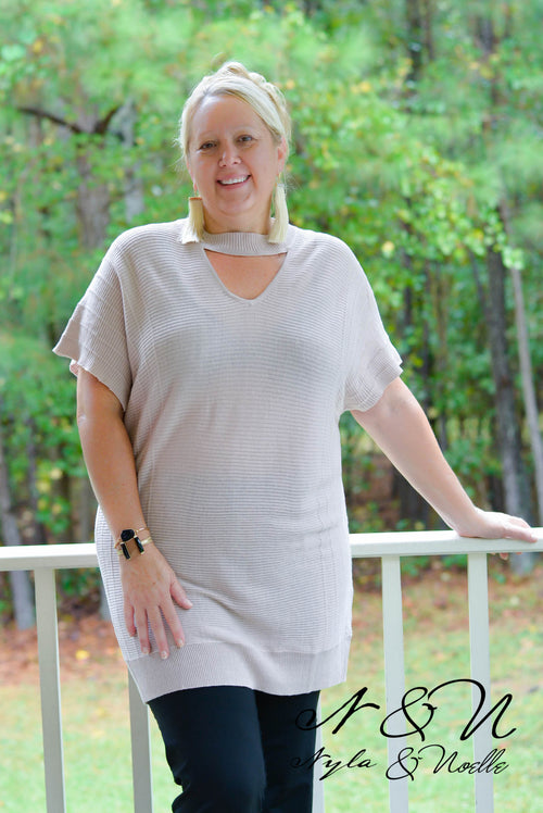 LOIS - Plus Size Ribbed Sweater Knit Tunic