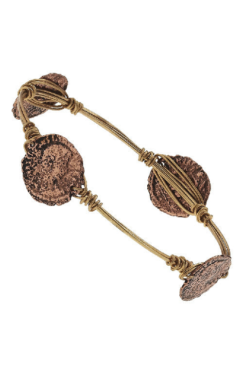 EMPIRE - Weathered Roman Coins on Wire Bangle