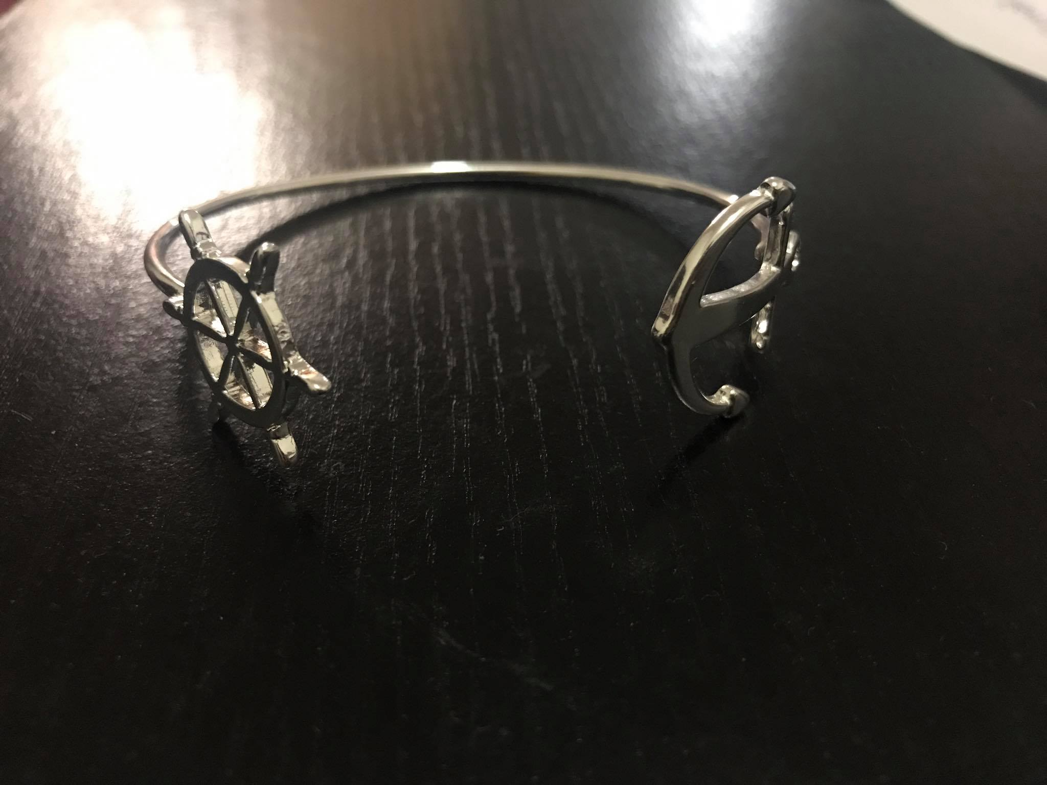 AT THE HELM - Silver Tone Anchor / Helm Open Wire Bangle