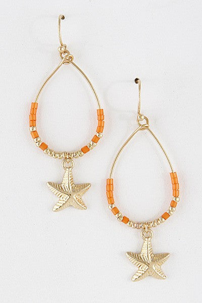 ORANGE STARFISH - Earring