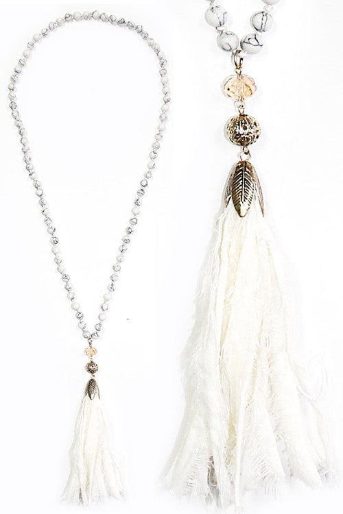 SHABBY CHIC HOWLITE 8mm White Stone Fabric Tassel Necklace