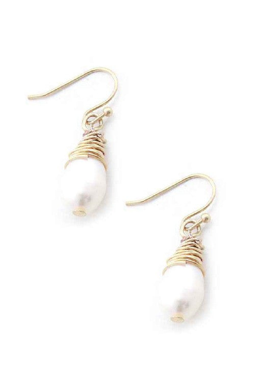 MERMAID TEARS - Freshwater Pearl Tear Drop Earrings in Gold