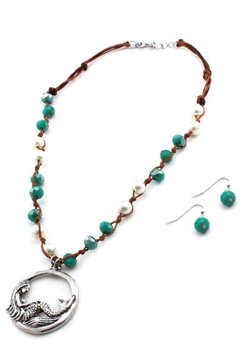 MERMAID WISH - Beaded Necklace Silver Toned and Earring Set