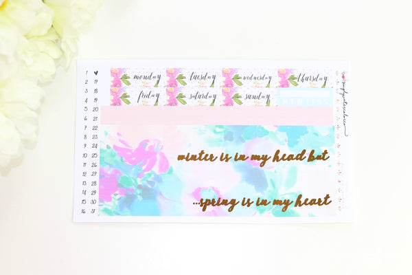 FOIL Hello Spring Bottom Washi/ Date Coverups (Gold Foiled)