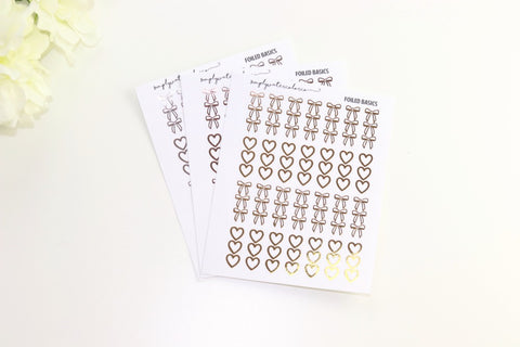 FOIL Three Heart/Bow Checklists (Gold, Rose Gold, Silver Foil)