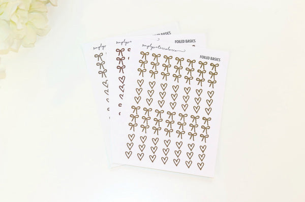 FOIL Skinny Three Heart/Bow Checklists (Gold, Rose Gold, Silver Foil)
