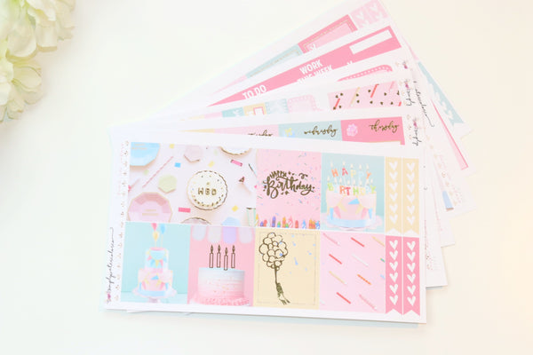 FOIL Birthday Deluxe Kit (Gold Foiled) // ECLP Planner Stickers