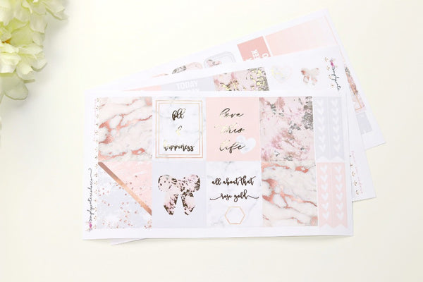 FOIL Rosey Mini kit (Rose Gold Foiled) // ECLP Planner Stickers