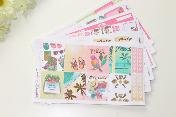 FOIL Aloha Deluxe Kit (Gold Foiled) // ECLP Planner Stickers