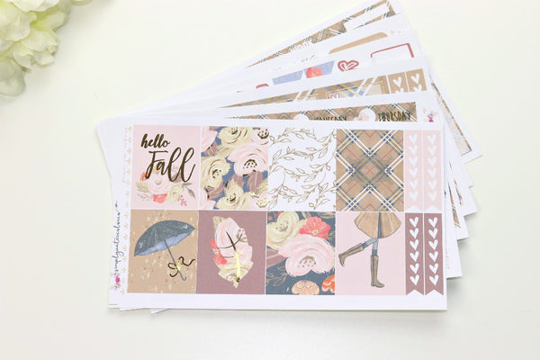 FOIL Hello Fall Deluxe Kit (Gold Foiled) // ECLP Planner Stickers