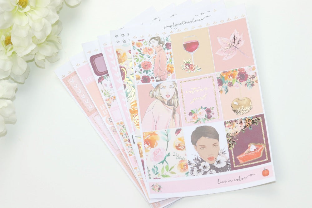 FOIL Autumn Girl Deluxe Kit (Rose Gold Foiled) // ECLP Planner Stickers