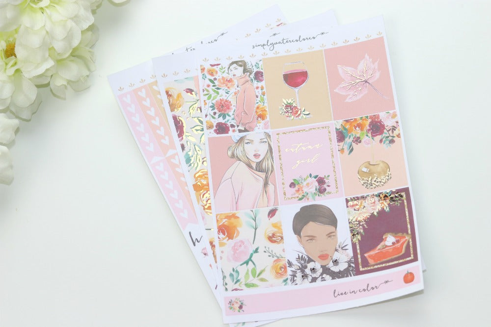 FOIL Autumn Girl MINI Kit (Rose Gold Foiled) // ECLP Planner Stickers