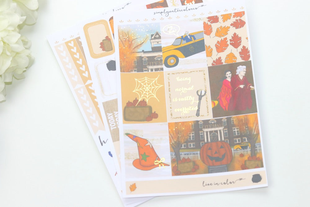 FOIL Halloweentown MINI Kit (Gold Foiled) // ECLP Planner Stickers