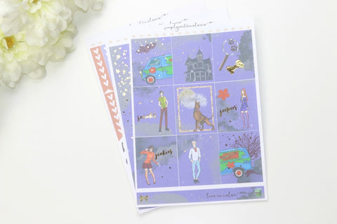 FOIL Scooby MINI Kit (Gold Foiled) // ECLP Planner Stickers