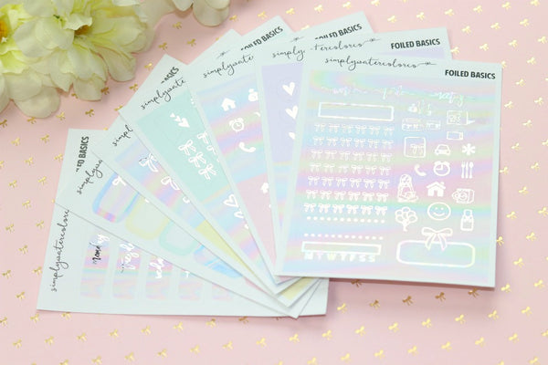 FOIL August SUB BASICS (Holo + Silver Foiled) // ECLP Planner Stickers