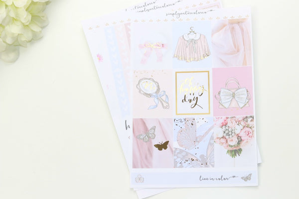 FOIL Flutter MINI Kit (Gold Foiled) // ECLP Planner Stickers