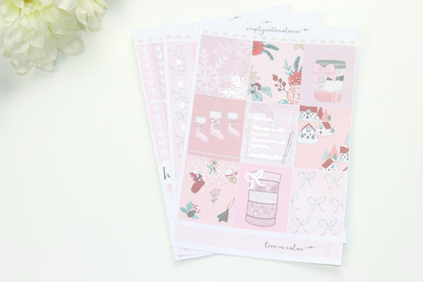 FOIL Pink MINI Kit (Silver Foiled) // ECLP Planner Stickers