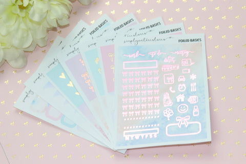 FOIL SEP SUB BASICS (Pink + Rose Gold Foiled) // ECLP Planner Stickers