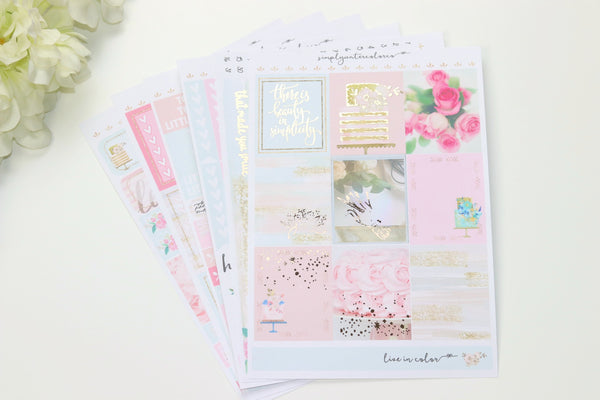 FOIL Rosey Deluxe Kit (Rose Gold Foiled) // ECLP Planner Stickers