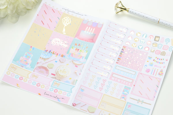 FOIL Bday B6 Kit (Gold Foiled) // ECLP Planner Stickers