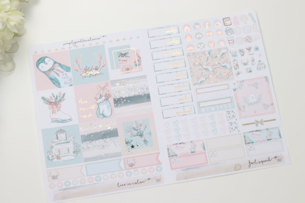 FOIL Elsa B6 Kit (Rose Gold Foiled) // ECLP Planner Stickers