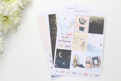 FOIL Starry MINI Kit (Gold Foiled) // ECLP Planner Stickers