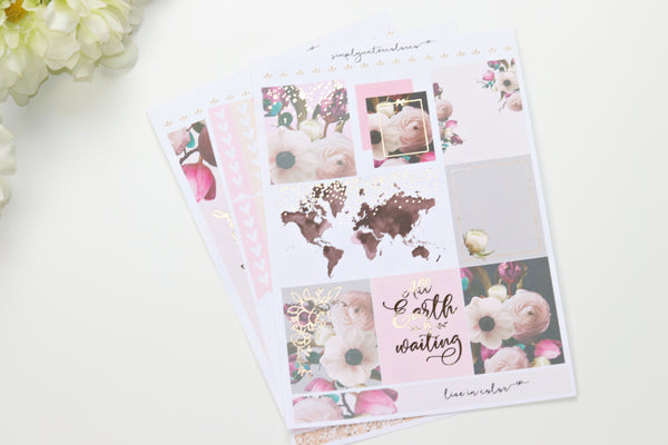 FOIL Wanderlust MINI Kit (Rose Gold Foiled) // ECLP Planner Stickers