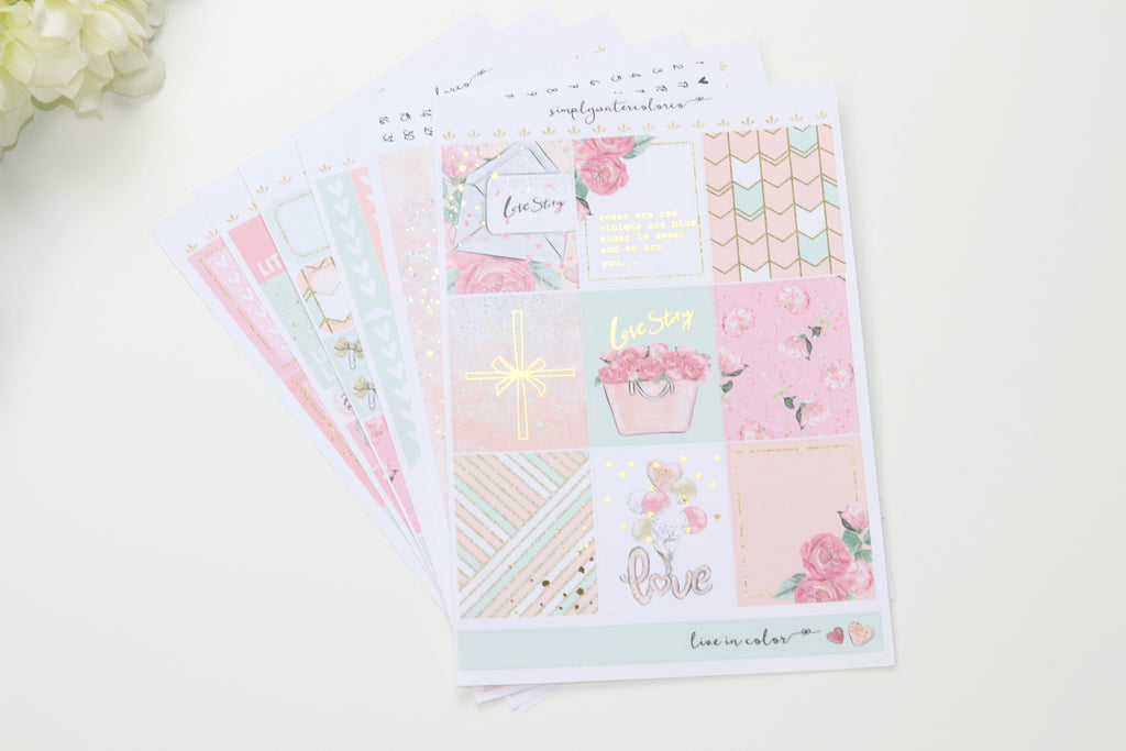 FOIL Love Story Deluxe Kit (Gold Foiled) // ECLP Planner Stickers