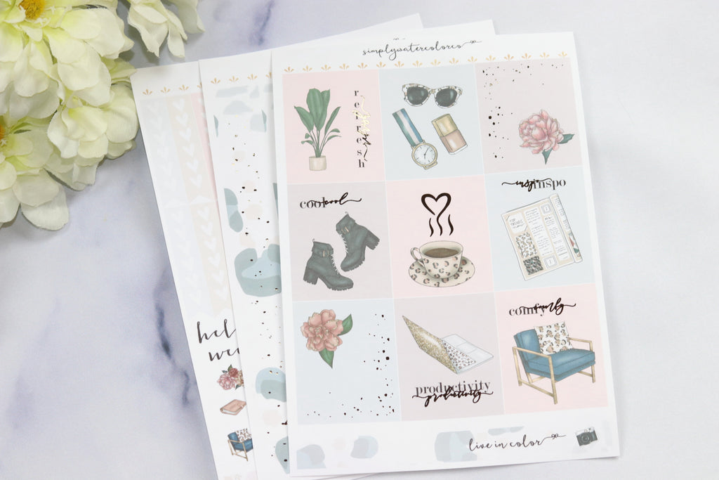 FOIL Millie MINI Kit (Rose Gold Foiled) // ECLP Planner Stickers
