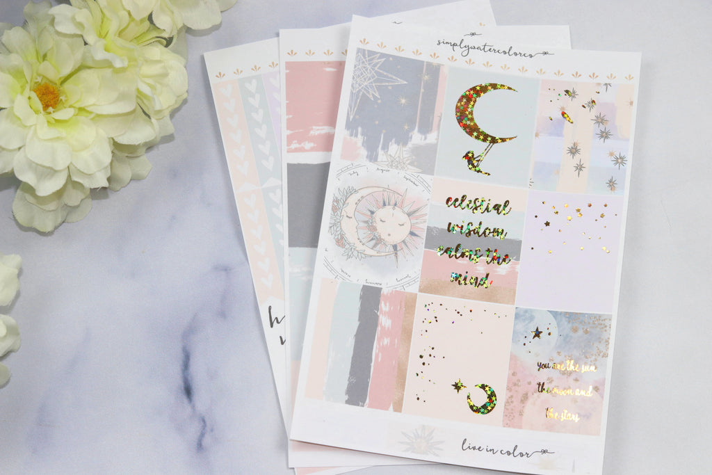 FOIL Celestial MINI Kit (Gold Star + Gold Foiled) // ECLP Planner Stickers
