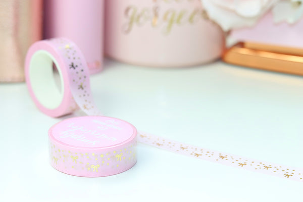 Pink Bow Confetti (Gold, RG, Holo) // 15mm Washi Tape