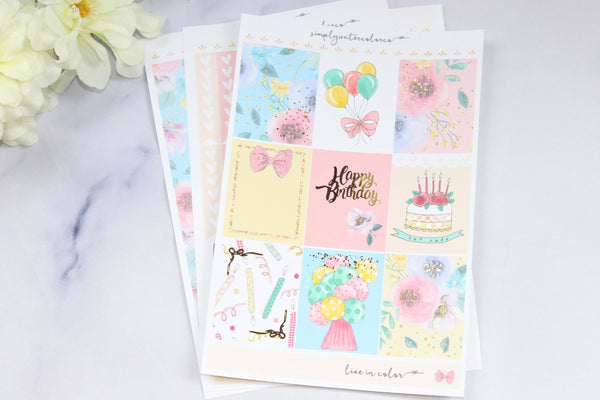 FOIL Birthday MINI Kit (Gold Foiled) Sparkle // ECLP Planner Stickers