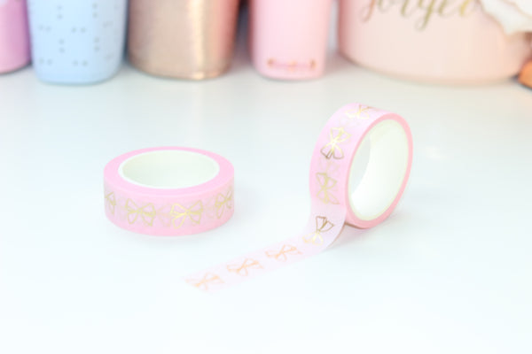Pink Bow (Gold, Rg, Holo) // 15mm Washi Tape